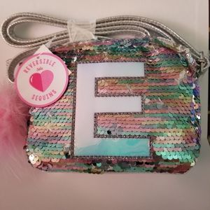 Girls Sequence silver purse letter E long strap